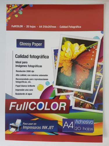 Papel Fotográfico Adhesivo, A4, 20h, Calidad Premium