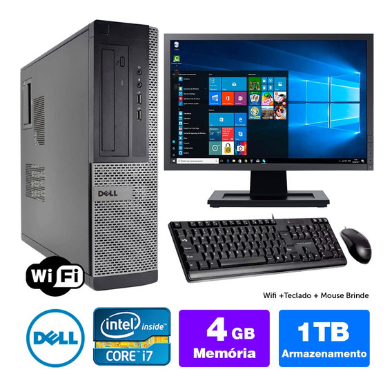 Desktop Usado Dell Optiplex 7010int I7 4gb 1tb Mon19w Brinde