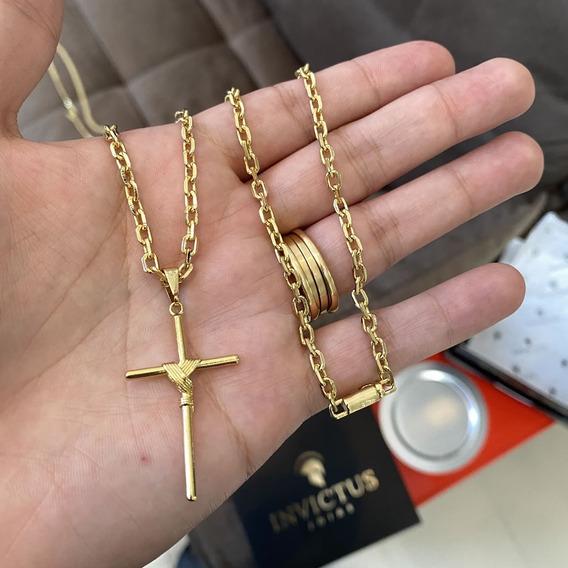 Cordao Banhado A Ouro 18k Masculino Cadeado Cartier Cruz