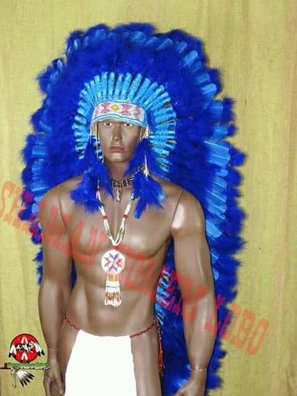 Cocar Indigena Chefe Pena Azul Umbanda Penacho