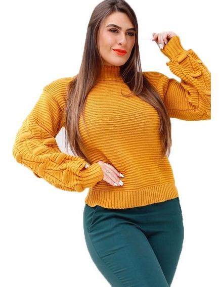Blusa Bata Croche Trico Manga Longa Com Relevo E Cacharrel