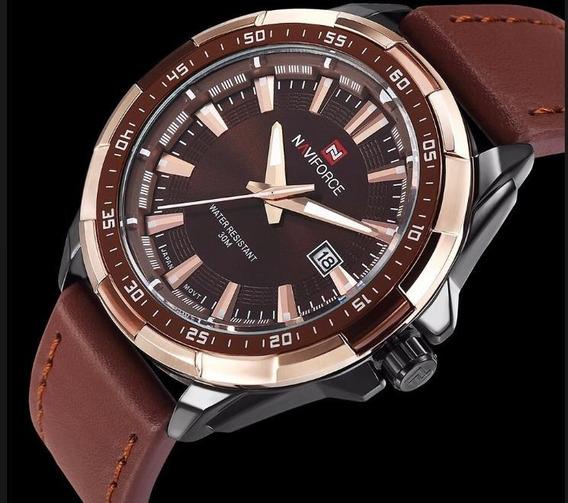 Relógio Masculino Couro Naviforce 9056 Original Promoção