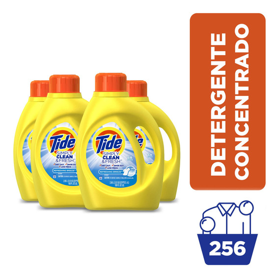 Pack X4 Detergente Tide Simply Refreshing Breeze 2.95lts