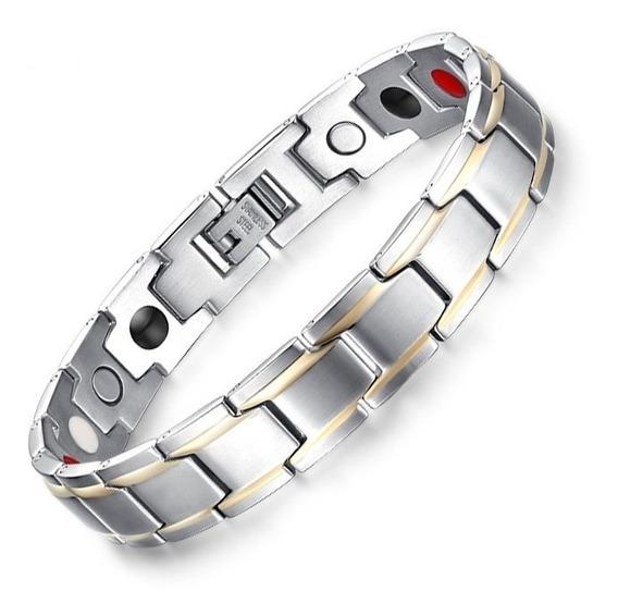 Pulseira Masculina Bracelete Luxuoso Preta Aço Inox Ouro 18k