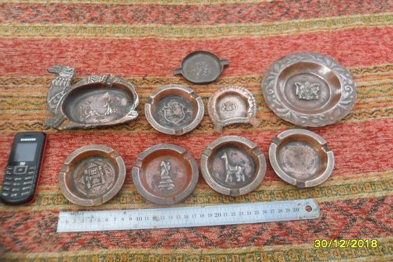 Lote D 8 Antiguos Ceniceros Cobre Egipto Sudamérica Varios