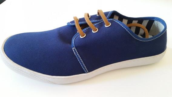 Zapatillas Panchas De Lona Con Cordones De Cuero Liquidaciòn