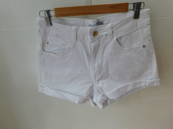 Short Blanco De Jean Elastizado Tiro Alto Bolsillos Mc
