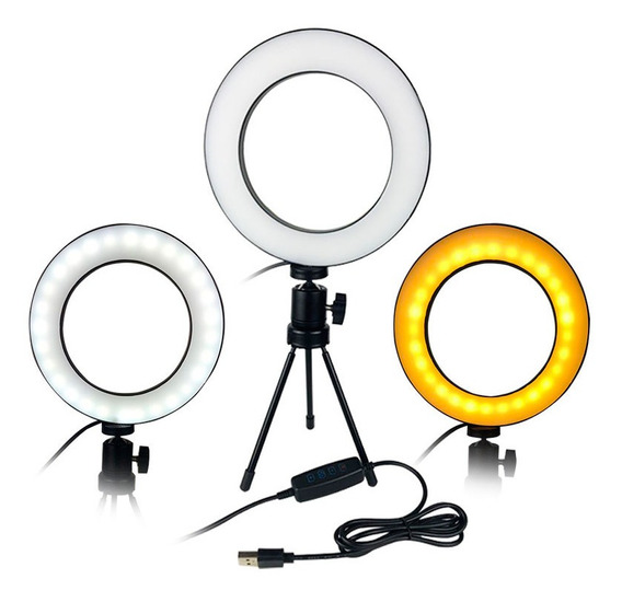 Mini Iluminador Ring Light De Mesa 56 Leds 8 Polegadas 5600k