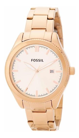 Reloj De Mujer Fossil Metal Oro Rosado Bq3184