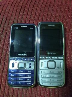Nokia C-100 Lote 2 Celulares Não Pega O Chip (único Defeito)