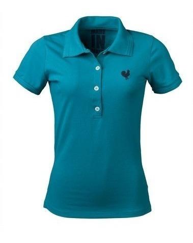 Camisa Polo Feminina Made In Mato Turquesa Jaum Jaum Algodão Casual