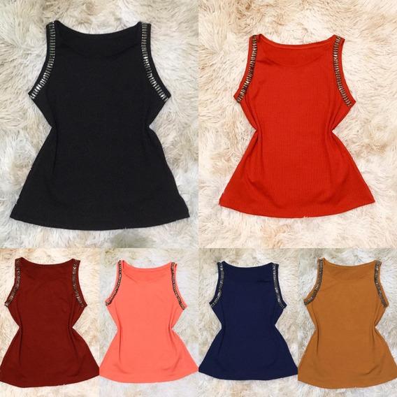 Kit 6 Blusinhas/camisetas Feminina No Tecido Canelado