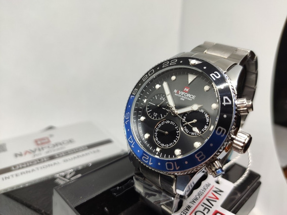 Relógio Original Naviforce Nf 9147 Luxo Esporte Inox Hardlex