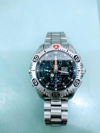 Relógio Seiko Scuba 7k52 (raro) Pulseira Original Em Aço.