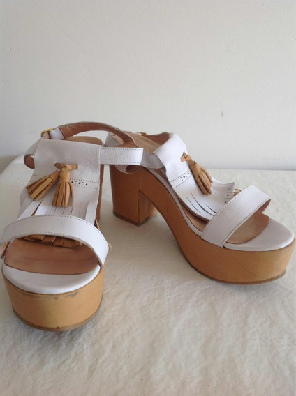 Zapatos Plataforma Cuero Febo Blanco Con Detalle De Flecos