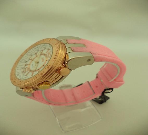 Relógio Pulso Feminino Coss Pulseira Silicone Cor De Rosa