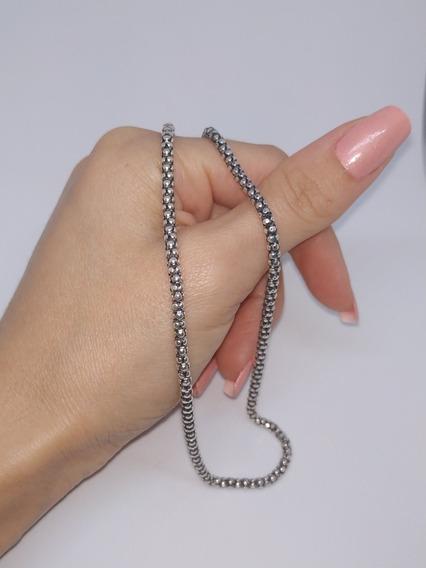 Cordão Corrente De Prata 925 Envelhecida Pipoca 60 Cm