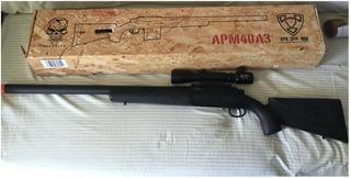Rifle De Airsoft Spring Aps Apm40a3 Bolt Calibre 6mm + Mira
