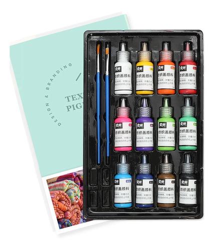 Juego De Pintura De Tela De 12 Colores 60 Ml Cada Botella Te