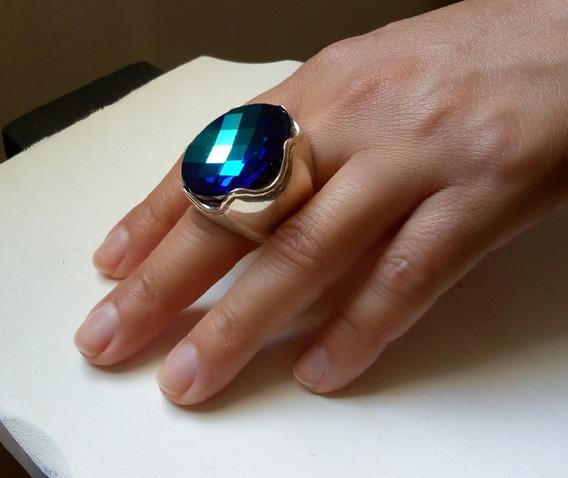 Anel Feminino De Prata 925 Com Pedra Cristal