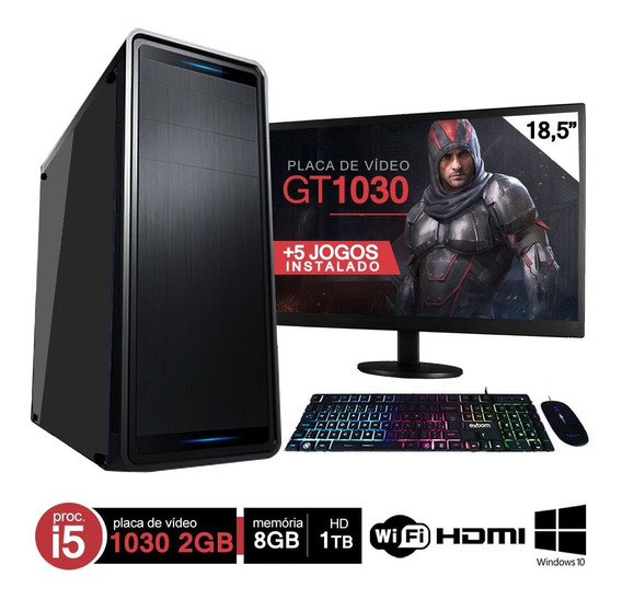 Pc Gamer Completo I5 8gb Hd 1000gb Gt 1030 Wifi Hdmi C/ Monitor Win10