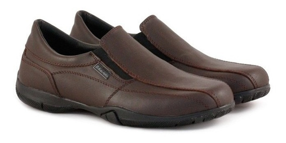 Zapatos Colegiales Con Elástico De Cuero Marrón Del 34 Al 40