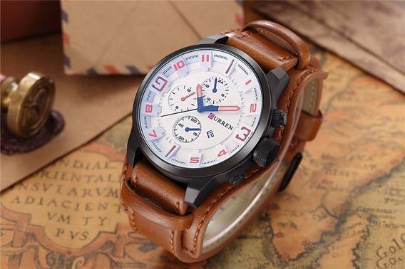 Relógio Esportes Militar Curren 8225 Couro Genuíno Original