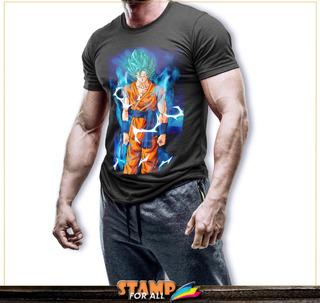 Camiseta Dragon Ball Z Super Goku Sayajin Blue Stamp For All