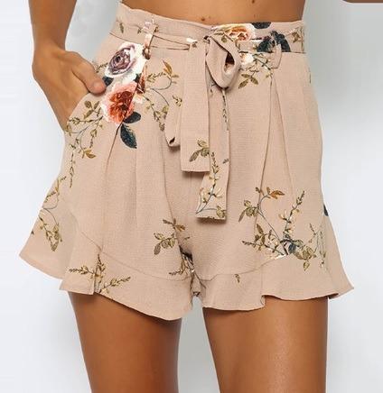 Shorts Feminino Cintura Alta Com Fecho Bolso Floral 2019