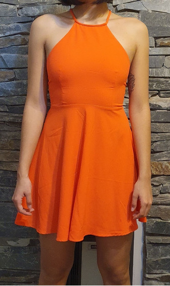 Vestido Naranja Complot Talle 40