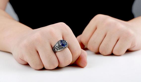 Anel Masculino Viking Vintage Prata Com Pedra Azul Aço Inox