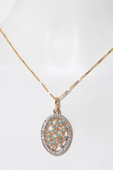 Gargantilha Veneziana 45 Cm Pingente Oval Vazado Inteira Em Prata 925 Banho Ouro 18k Cravejado De Zirconia Azul Cristal