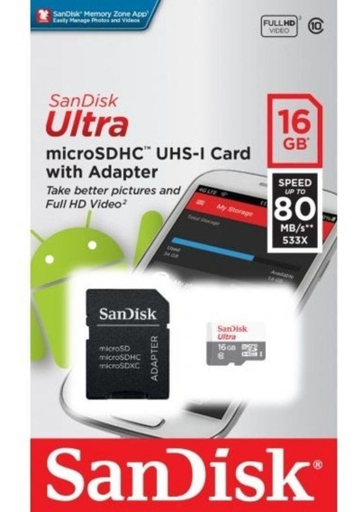 Micro Sd Ultra 16gb Classe 10 80mbs Sandisk