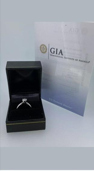 Anillo De Compromiso Diamante Certificado Gia .70ct G Si2