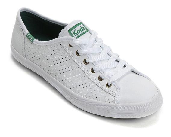 Kd810002 Tênis Keds Kickstar Perf Leather Branco Verde Couro