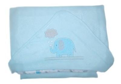 Toalha De Plush Com Capuz Elefante Azul - Bambi