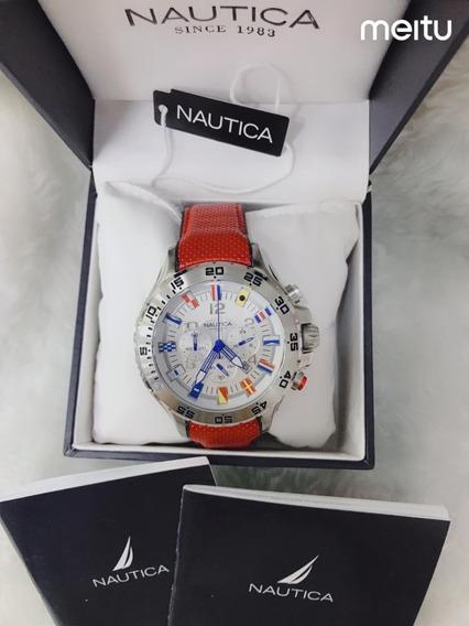 Relógio Nautica N16696g Couro Laranja - Branco Promoção!
