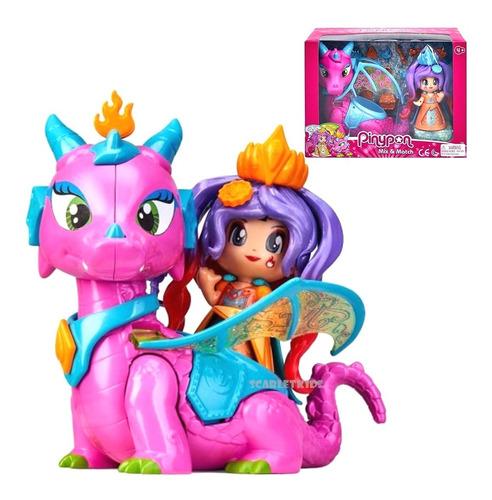 Imagen 1 de 7 de Pinypon Reina Y Dragon Mix Is Max Original Scarlet Kids