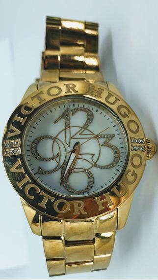 Relógio Feminino Victor Hugo Dourado Vh10038