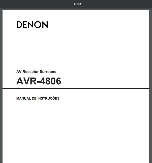 Manual Em Português Do Receiver Denon Avr-4806