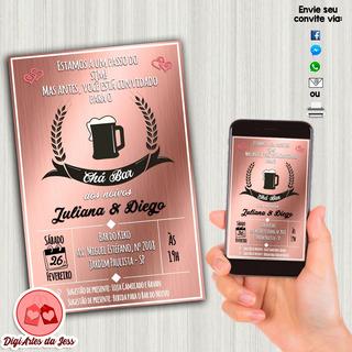 Convite Digital Chá Bar - Rose Gold
