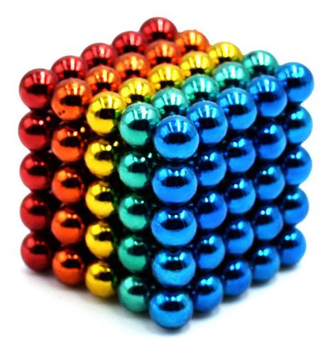 Cubo Magnético 125 Bolitas 5 Mm 5 Colores Iman