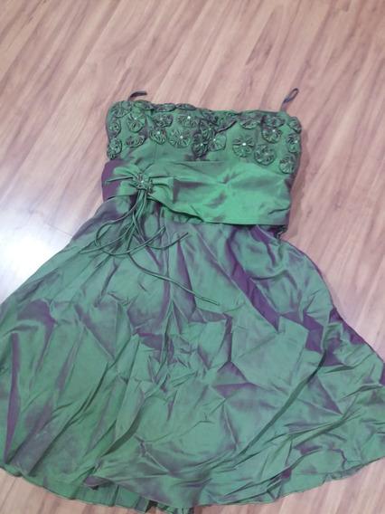 Vestido De Festa Tafetá Verde Musgo Curto