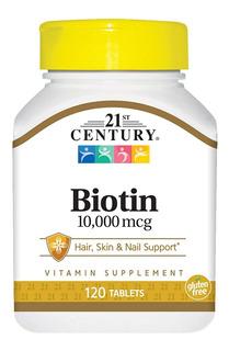 Biotina 21 Century 120 Tableta Usa 10.000 Mcg Usa