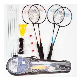 Set Badminton Toalson 4 Raquetas 2 Plumas Red Soporte Bolso