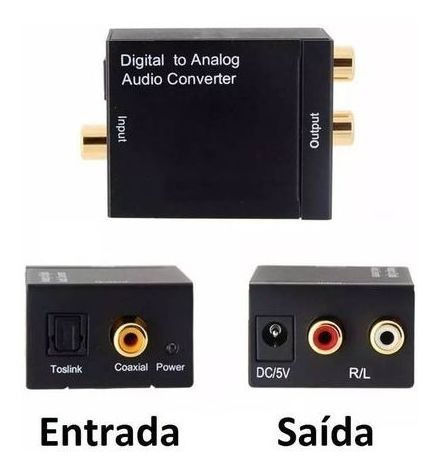 Conversor De Audio Optico Coaxial Digital Para Analogico Rca