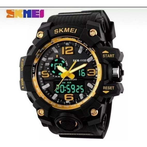 Relógio Skmei Original Dourado 1155 Preto Prova D