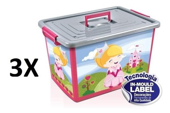 Kit 3 Baú Caixa Organizadora 50 Litros Infantil Rosa Com Rod
