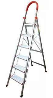Escalera De Aluminio Tijera Familiar 6 Escalones Reforzada