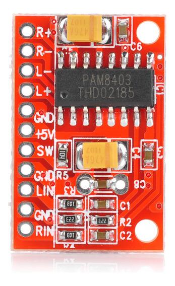 Placa Amplificadora De Áudio Pam8403 De 2 Canais 3w-vermelho